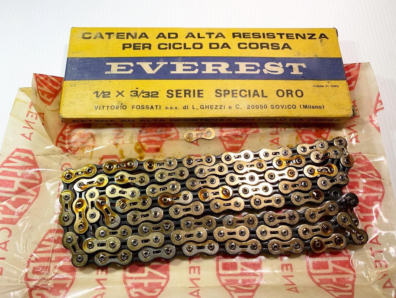 Vintage Nos Everest 1 2 x 3 32 Serie Special Gold   Chain Lightened 6v Colnago