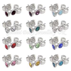 Birthstone-4-mm-CZ-amp-Surgical-steel-stud-earrings-Fits-standard-Ear-Piercing