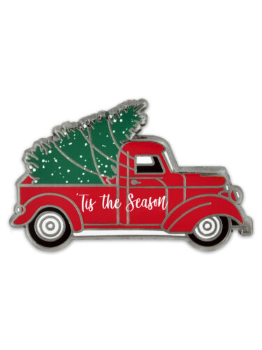 PinMart/'s Holiday Tis The Season Vintage Red Truck with Christmas Tree Lapel Pin