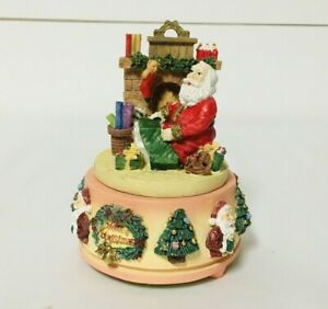 Vintage Artmark Treasury Of Gifts Resin Music Box Santa Claus Christmas Holiday