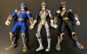 "Power Rangers Wild Force Black Blue Silver Power Ranger 5"" Figure 2001 Lot"