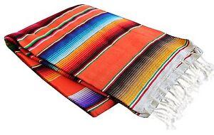 Del Mex TM X-large Mexican Serape Blanket Sarape Orange