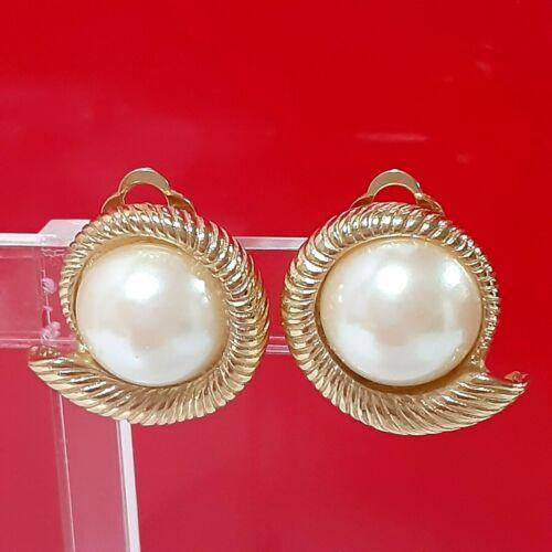 Vintage 60s Choker Earrings Richelieu 3 Strand Graduating Pearl AB Crystal Beads Goldtone Metal Clip on Earrings Signed
