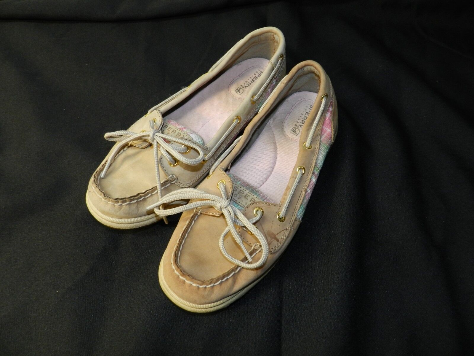 Sperry Top Sider Womens Tan Leather with Pink Trim Boat Shoes Size 8M