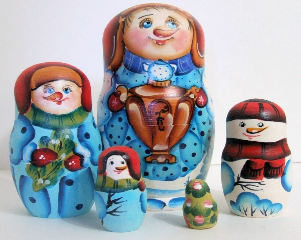5pcs Hand Painted Russian Nesting Doll Snowmen
