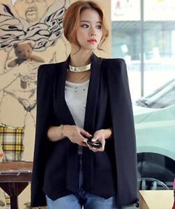 0a61ff80d1ce6 Women's Cape Black Short Casual Blazer Sleeveless Blazer Coat ...