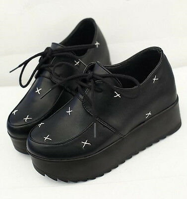Womens Wedge Heel Platform Flats Creepers Oxfords Punk Goth Lace Up Casual Shoes
