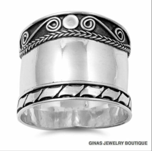 Beautiful Bali Cigar Band Ring Sterling SilverHALF SIZE Sizes 6,7,8,9,10,11,12,