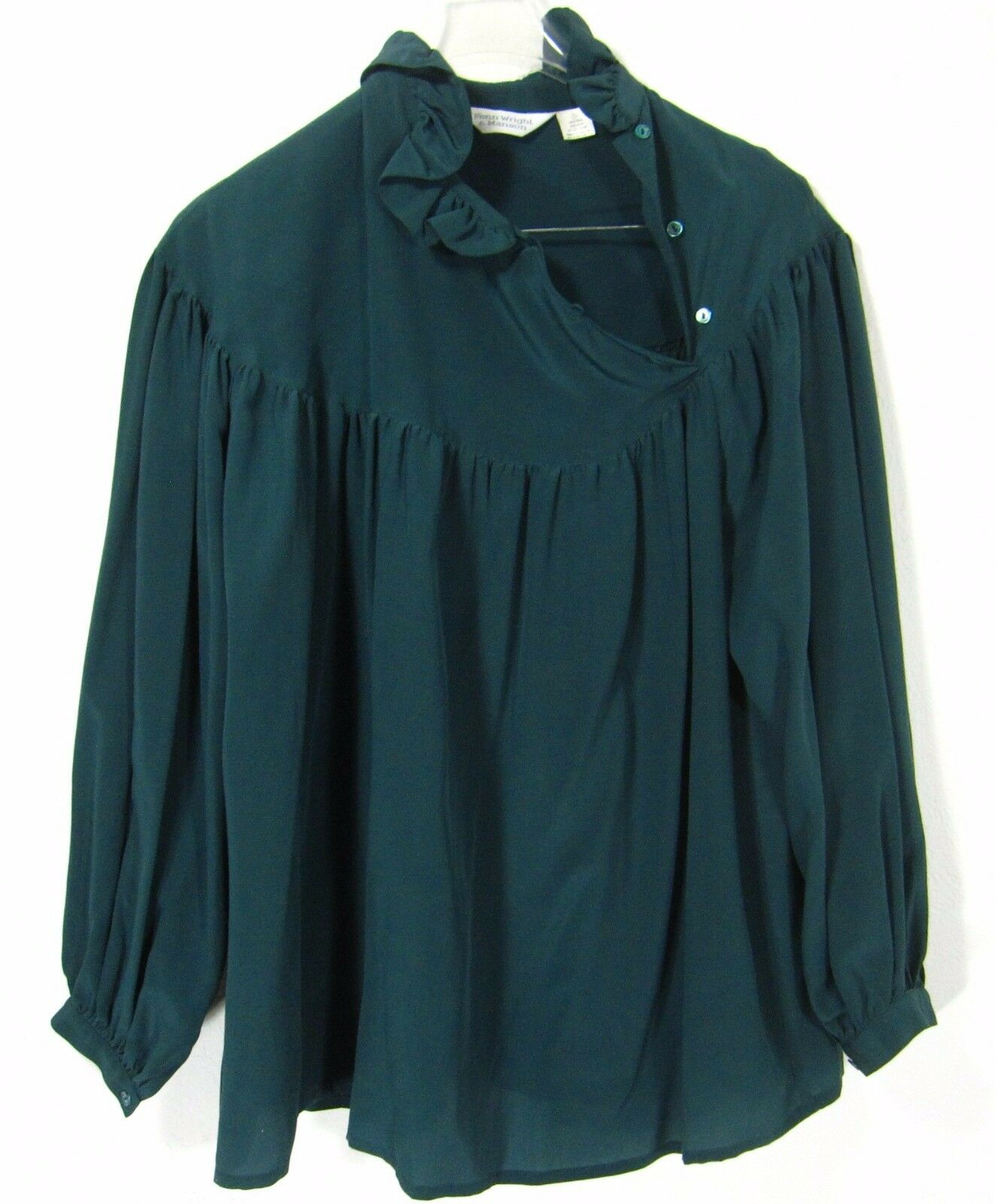 Fenn Wright & Manson 100% Silk Long Sleeve Blouse Size 3 Solid Green Asymmetric