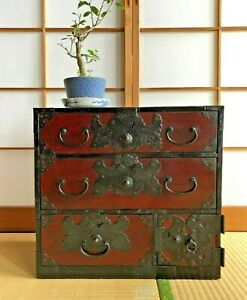 Antique-Japanese-Furniture-Small-Wood-Cabinet-Isho-Dansu-Shonai-Tansu-H-16-1inch