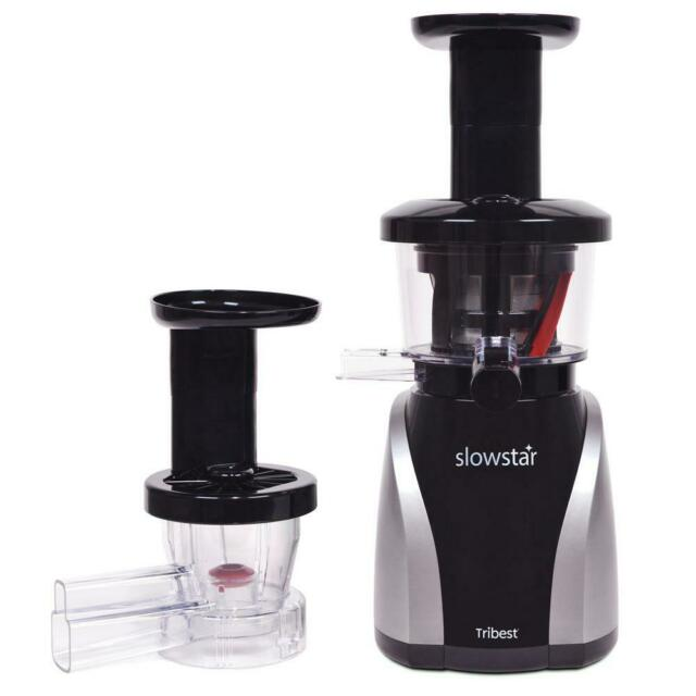 Slowstar 24 fl. oz. Black and Silver Vertical Cold Press Juicer with Mincing