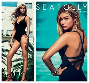 NEW $152  Seafolly Deep-V One-Piece Swimsuit Black