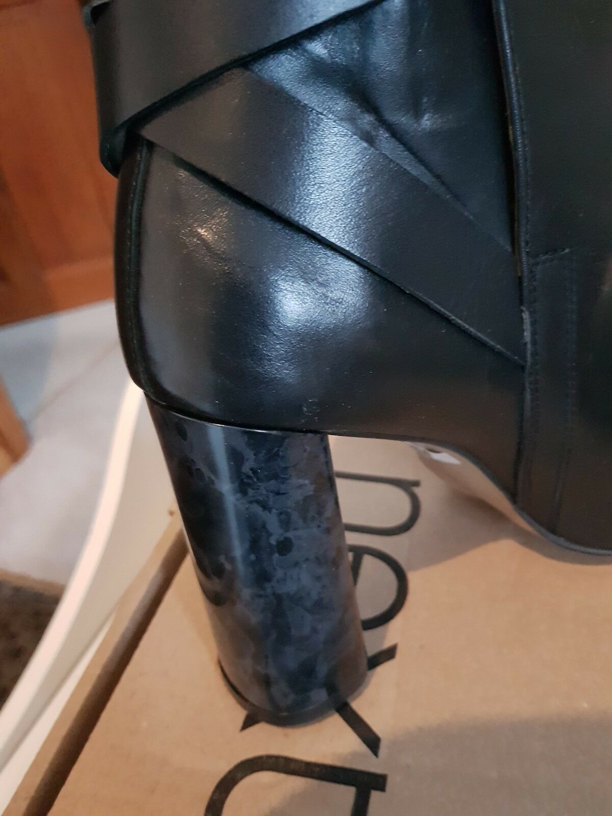 BNWT NEXT ladies boots black heeled leather upper and insoles heeled black size 6 2f0b28