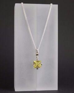 13-mm-Quadrat-Zirkonia-Anhaenger-Damen-925-Sterling-Silber-mit-Kette-Halskette