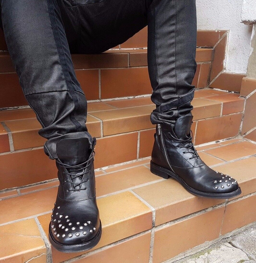A.s.98 AirStep Chaussures art.326206 noir Noir Véritable Cuir Rivets Original Neuf