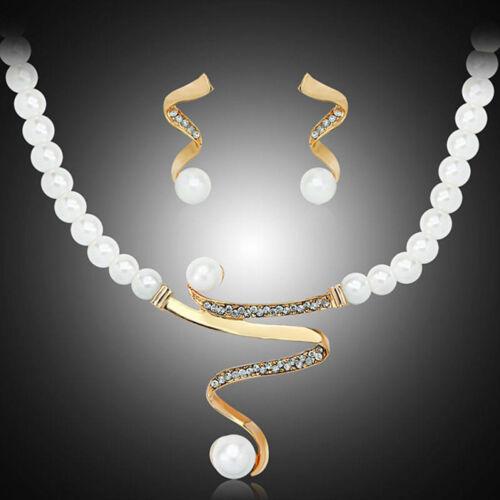 Luxury Prom Wedding Bridal Party Crystal Rhinestone Necklace Earring Jewelry Set