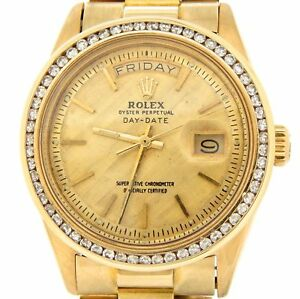 Mens Rolex Day Date President 18k Yellow Gold Watch 1 30ct