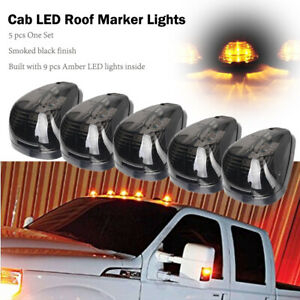 Amber-LED-Smoke-Roof-Cab-Marker-Running-Lights-5-Pieces-Fit-Auto-Truck-SUV-Jeep