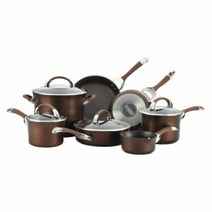 Circulon Symmetry Chocolate Hard Anodized Nonstick 11 Piece Cookware Set
