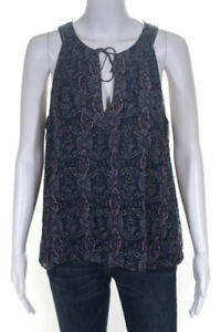 Joie-Women-039-s-Sleeveless-Printed-Blouse-Silk-Navy-Blue-Pink-Size-Large
