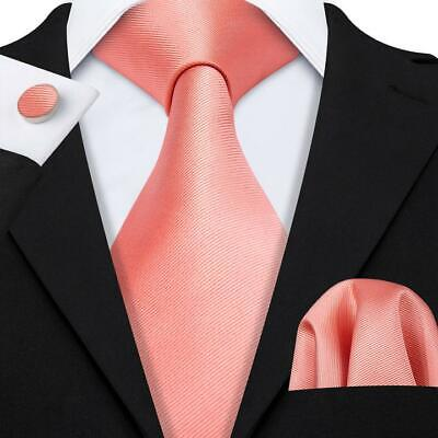 Classic Pink Silk Tie Set for Men Jacquard Woven Solid Necktie Wedding Party