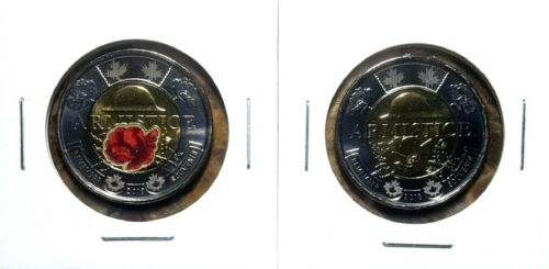 Canada 2018 Armistice Colourized /& Regular Toonie BU Set From Mint Roll!!