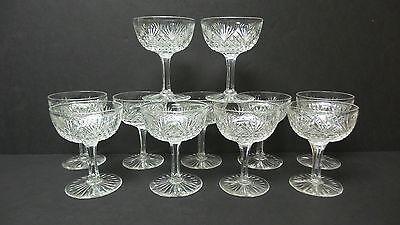 BEAUTIFUL SET/11 ABP AMERICAN BRILLIANT PERIOD CUT GLASS CHAMPAGNE / SHERBETS