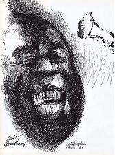 "Vintage Orig. LeROY NEIMAN PRINT Book Plate 9x13: ""Satchmo"" Louis Armstrong, '61"
