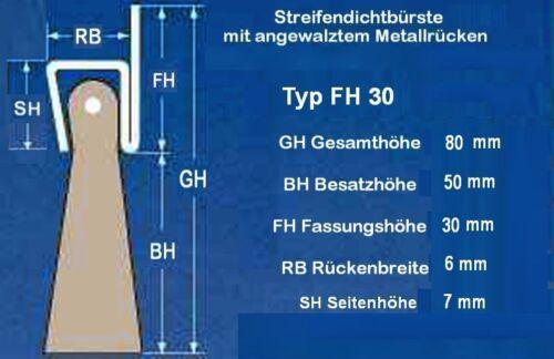 2m stalltor-cepillos junta 30mm va-inoxidable 50mm pp-ribete resistente a la intemperie torbürste