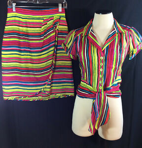 Nanette-Lepore-Women-039-s-Blouse-amp-Faux-Wrap-Skirt-2-Pc-Set-Outfit-100-Silk-Sz-2