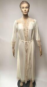 vintage olga off white robe bridal lingerie nylon lace
