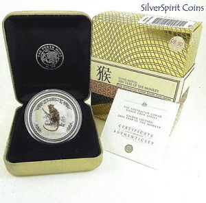 2004-YEAR-OF-THE-MONKEY-GILDED-LUNAR-Series-Silver-1oz-Coin-in-Gold-Box