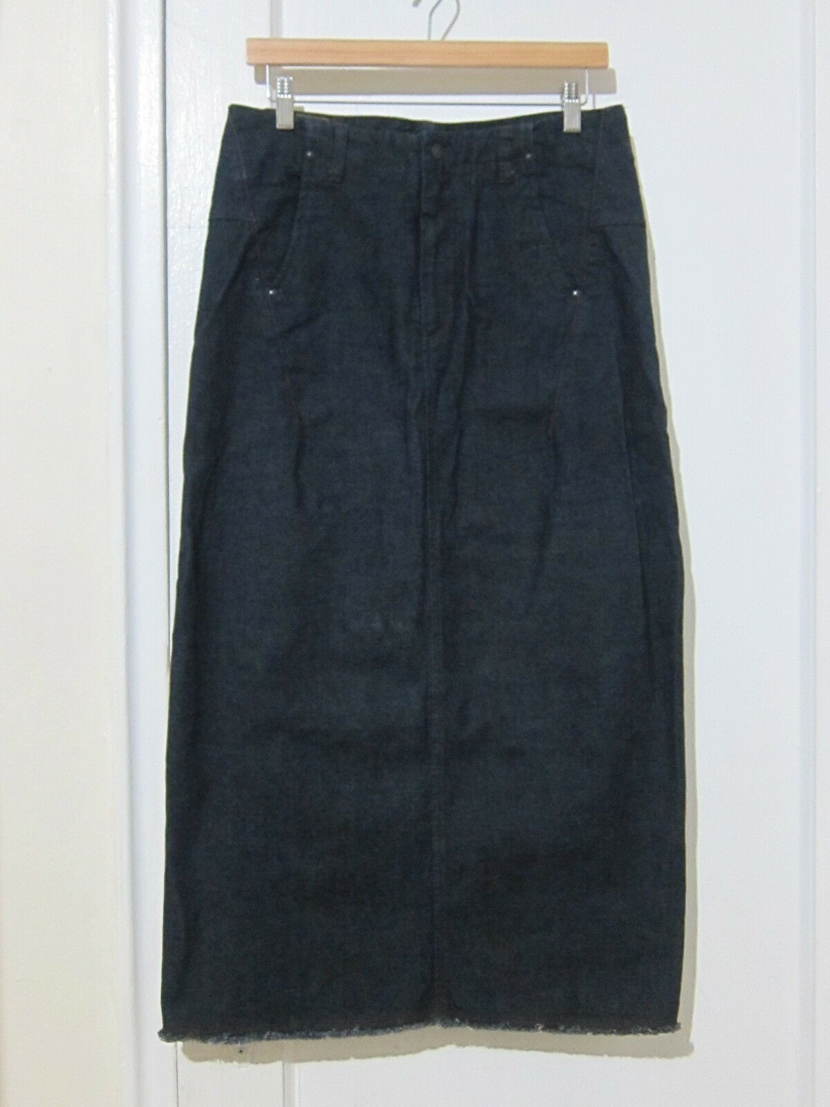 Marithe Francois Girbaud Ruffled Dark bluee Denim Fringe Long Skirt Women's Sz 28