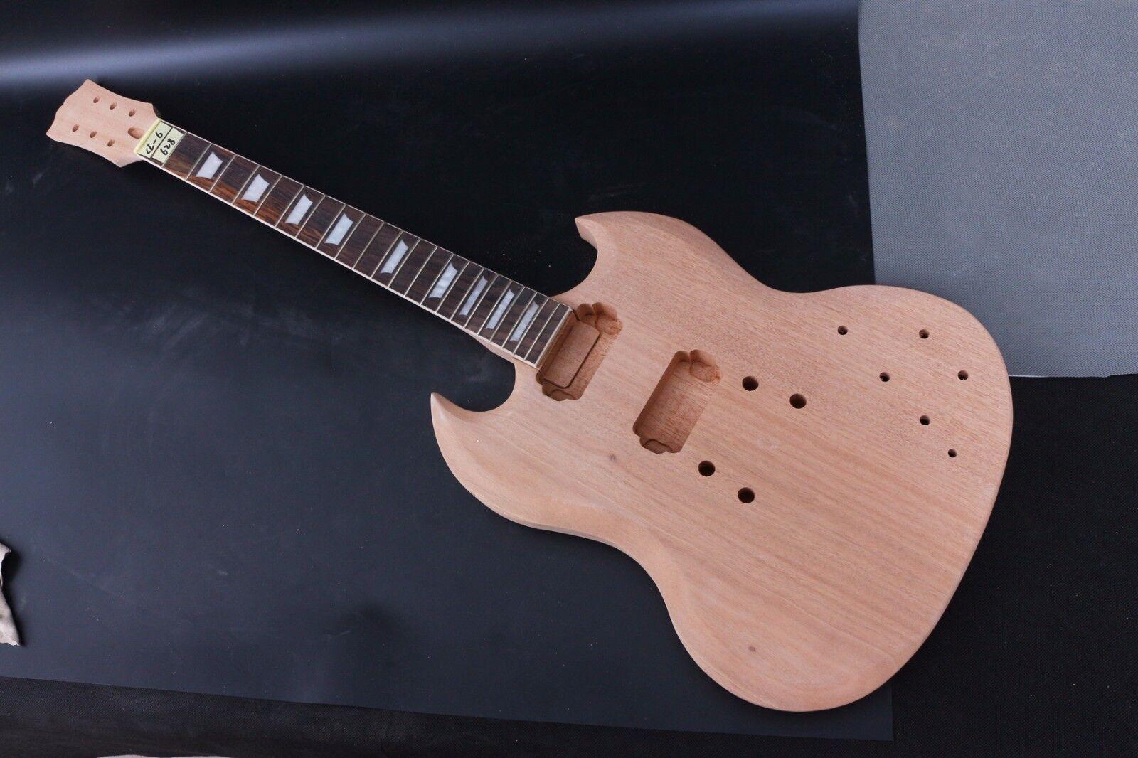 1Set Guitarra de Cuerpo Caoba inacabado + Guitarra Cuello Ajuste Ajuste Ajuste SG Estilo Guitarra Eléctrica  Mejor precio