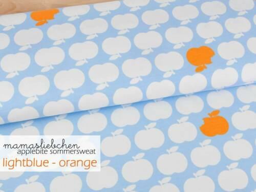 "Sommer-Sweat Stoff Apfel Äpfel Jungs Damen /""applebite #hellblau-orange/"" 0,5m"