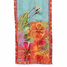 Laurel Burch 100% Silk Oblong Red Orange Florals Flowers Teal New