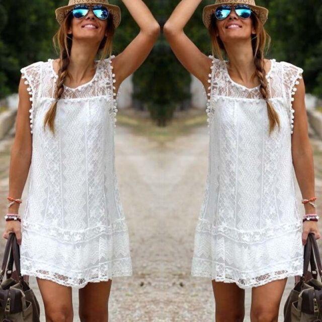 Hot Women Celeb Sexy Sleevless Lace Crew Neck Boho Hippie Loose Short Mini Dress