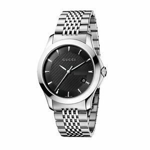 0eaae7e91ab New Gucci G-Timeless Black Dial Stainless Steel Bracelet YA126402 ...