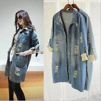New Denim Jacket Womens Jeans Coats LADIES Cropped Long Size 8 10 12 14 16 18 20
