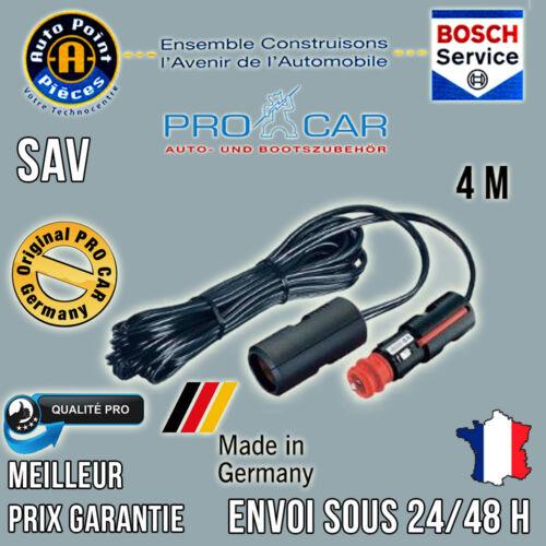 ProCar Rallonge 4m Allume Cigare 12-24V 8A Made In Germany Qualité Pro!