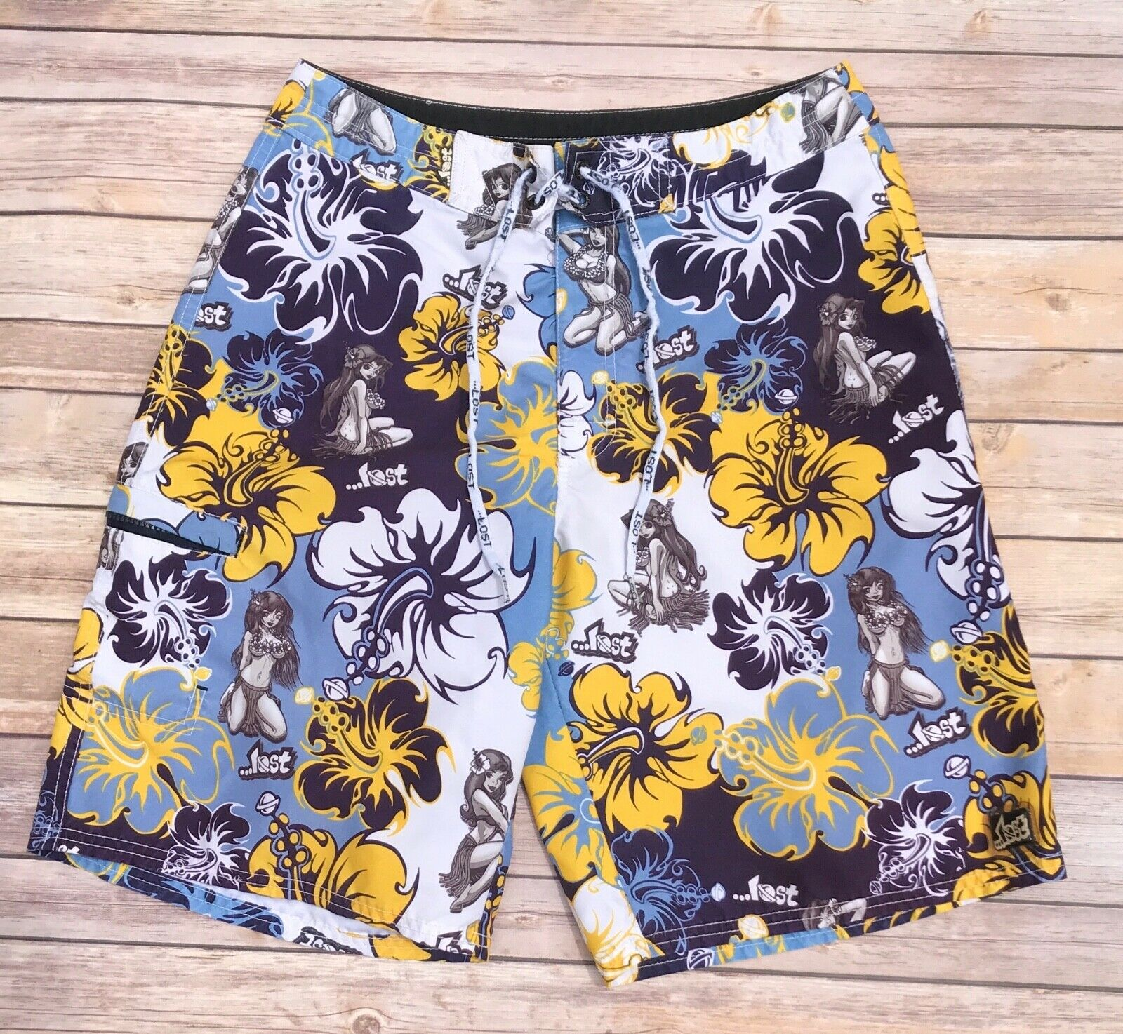 Lost bluee Yellow Tropical Floral Hula Pin Up Girl Swim Trunks Board Shorts 31