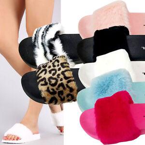 lowest price a63a7 ad3a7 Details about Fur Slides Rihanna Slides Style Faux Fur Flip Flop Slippers  Flat Sandals Slides