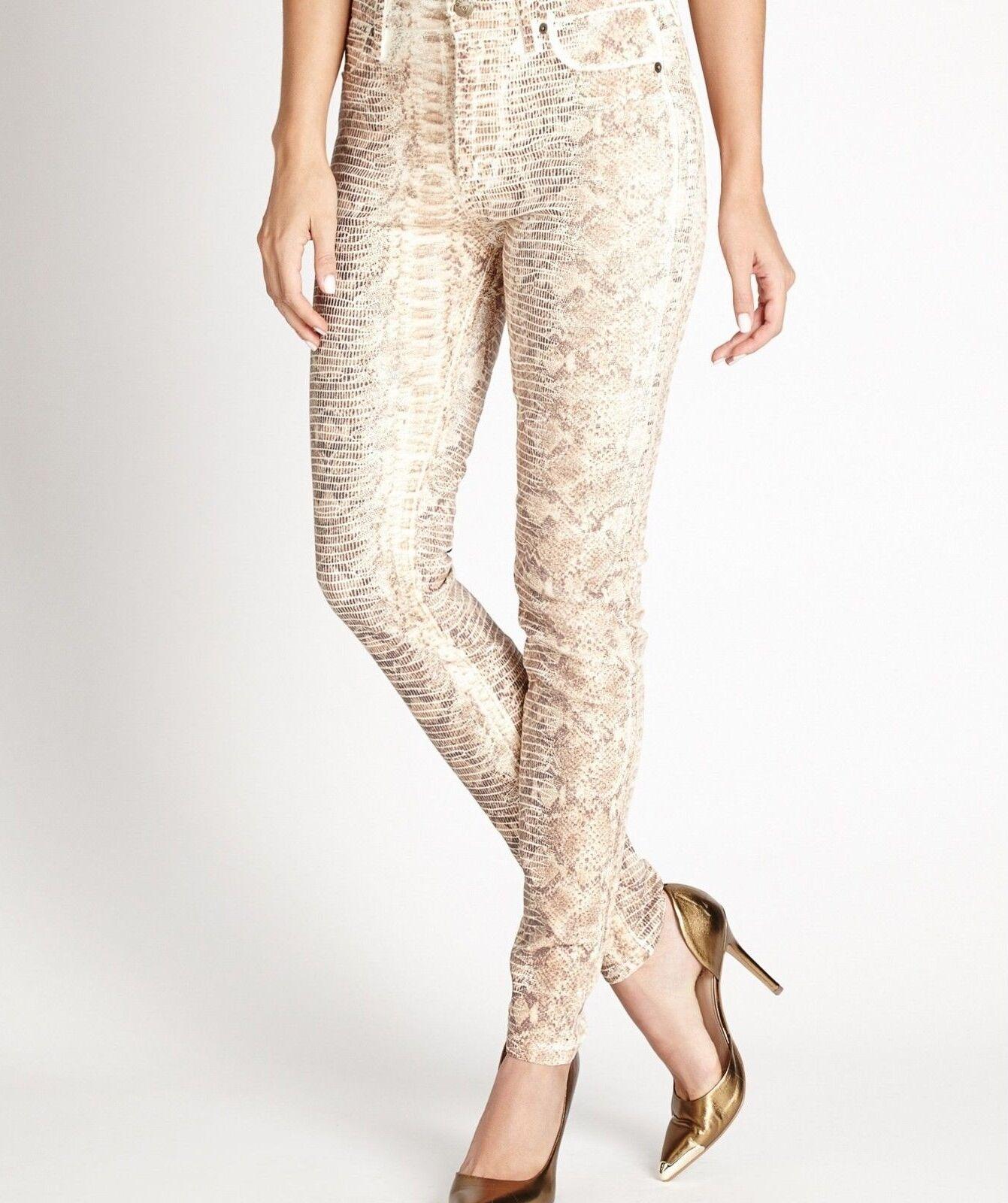 GUESS Women's Power Skinny Jeans - Milk Snake Foil Wash sz 27