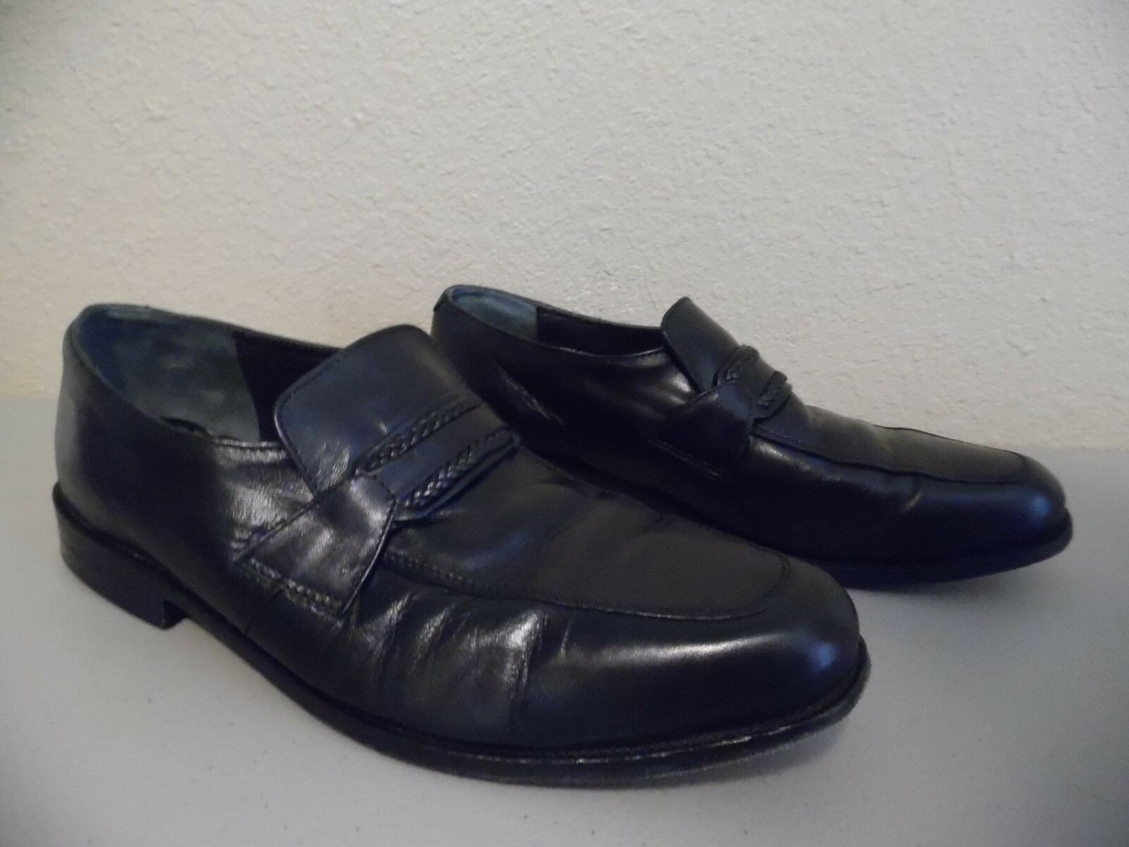 DAVID TAYLOR Men's Black Leather Upper Size & Lining Loafers Shoes Size Upper 11 M 6b2d0b