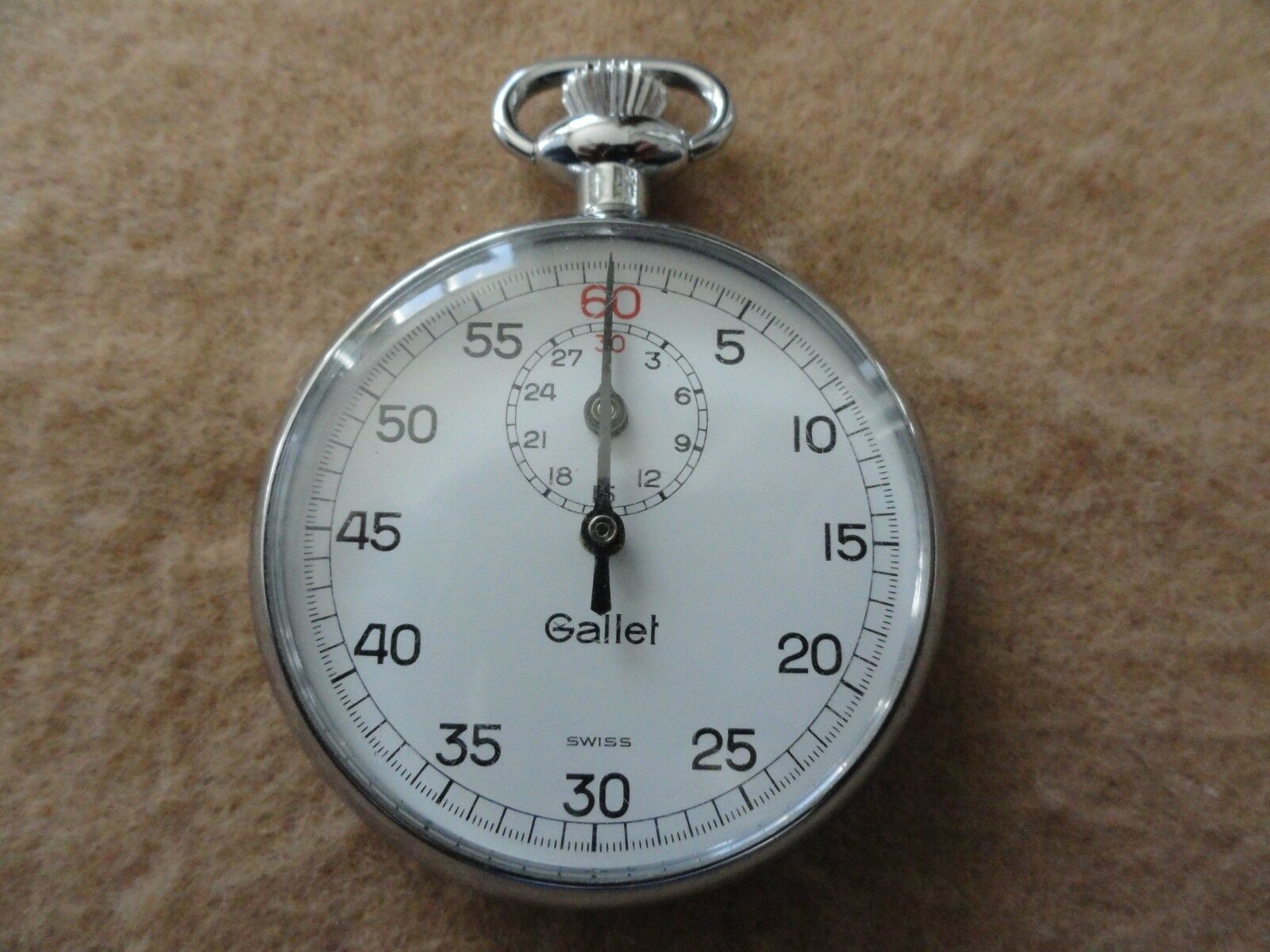 Vintage Swiss Made Gallet Mechanical Wind Up Stopwatch