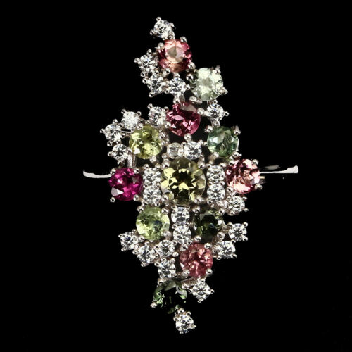 Unheated Round Tourmaline Multi-Color 4mm White Cz 925 Sterling Silver Ring