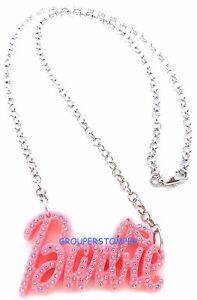 Pink-Plastic-Crystal-Rhinestone-Pendant-Barbie-Style-19-034-Necklace-Metal-Chain