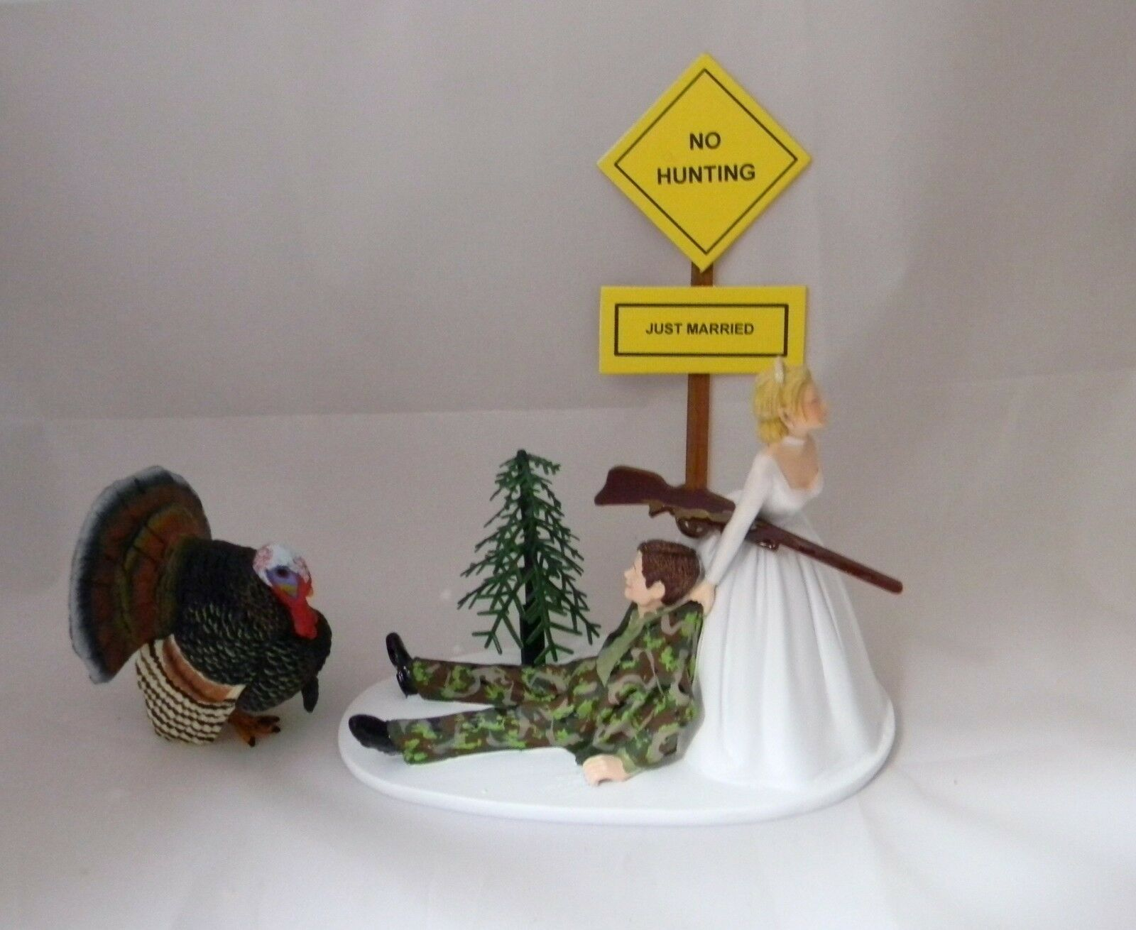 Mariage Fête Réception  Turkey Gobbler  Cake Topper Camo Groom Chasseur Chasse