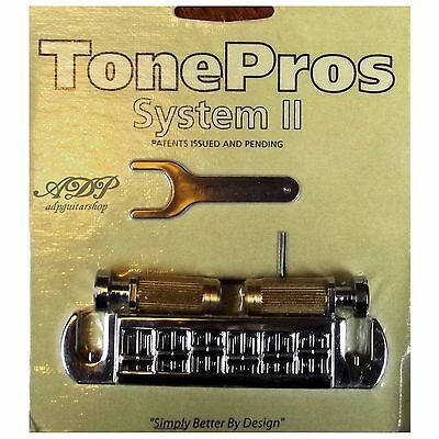 TonePros AVT2G-C CORDIER-CHEVALET Warparound Bridge Fits PRS, GIBSON LP CHROME