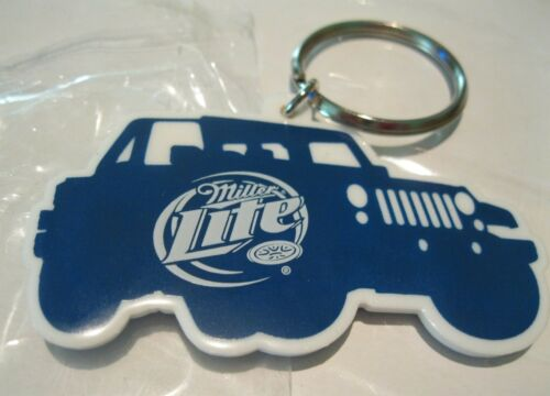 """Keychain Miller Lite Jeep Truck Never Used Mint  3/""""L Beer Advertising Rubber"""